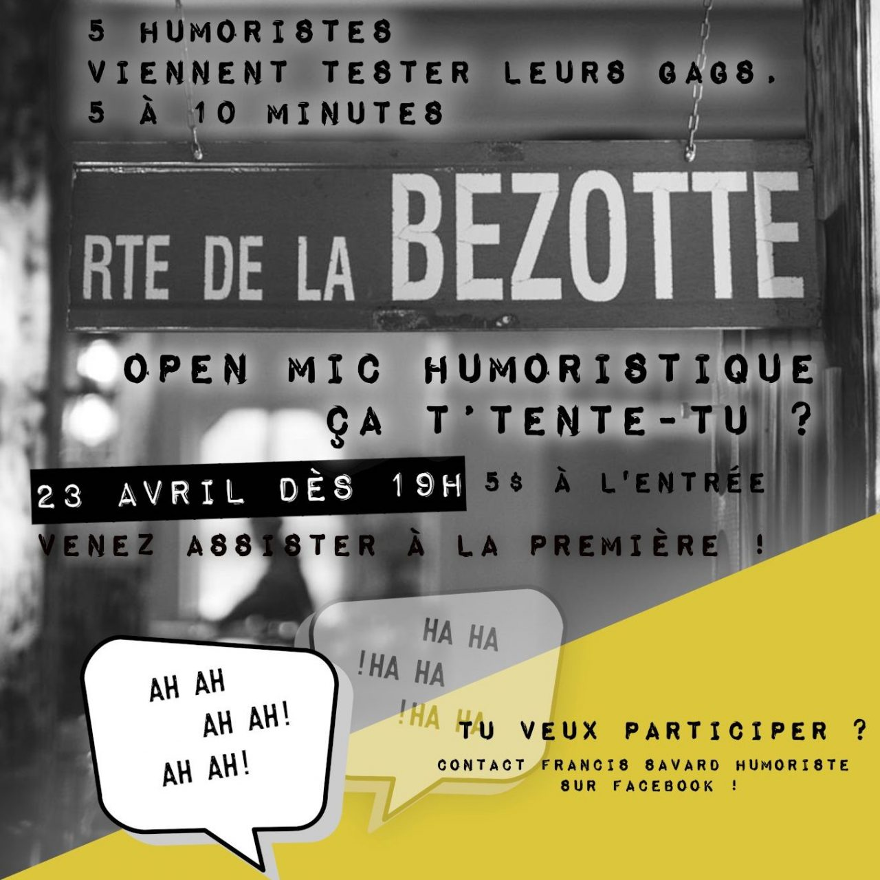 Open mic humoristique 23 avril 2020 - 20h00